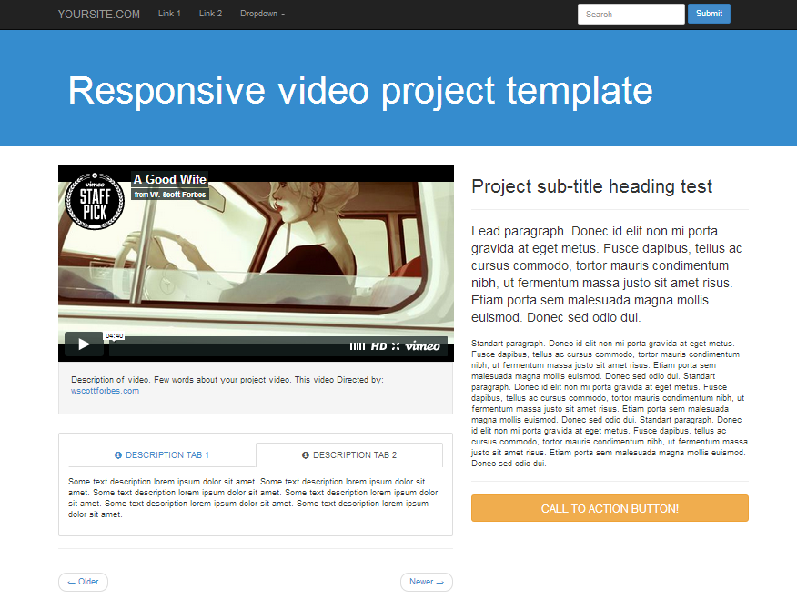 bootstrap video template responsive